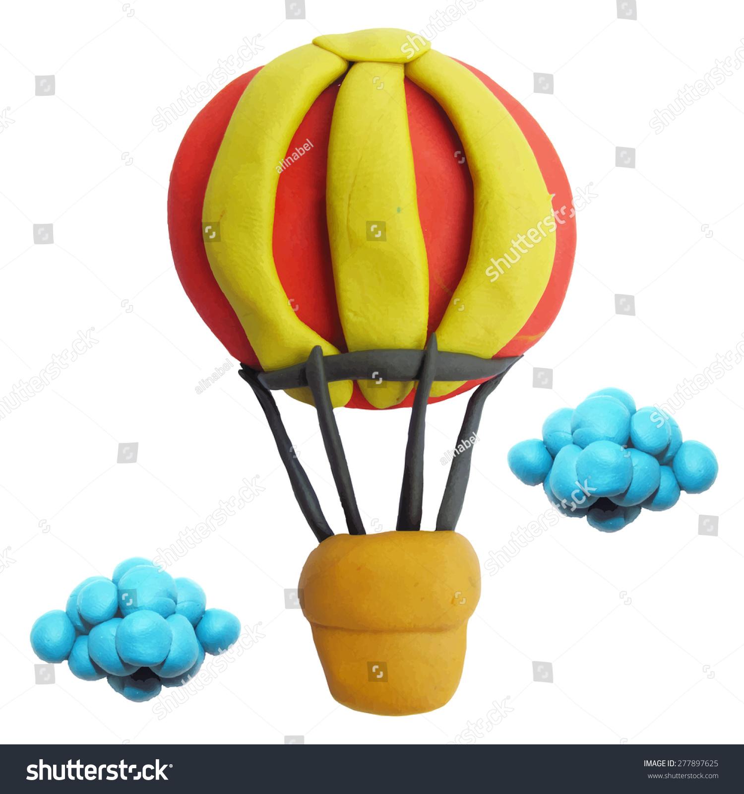 vector illustration icon plasticine air balloon stock vector