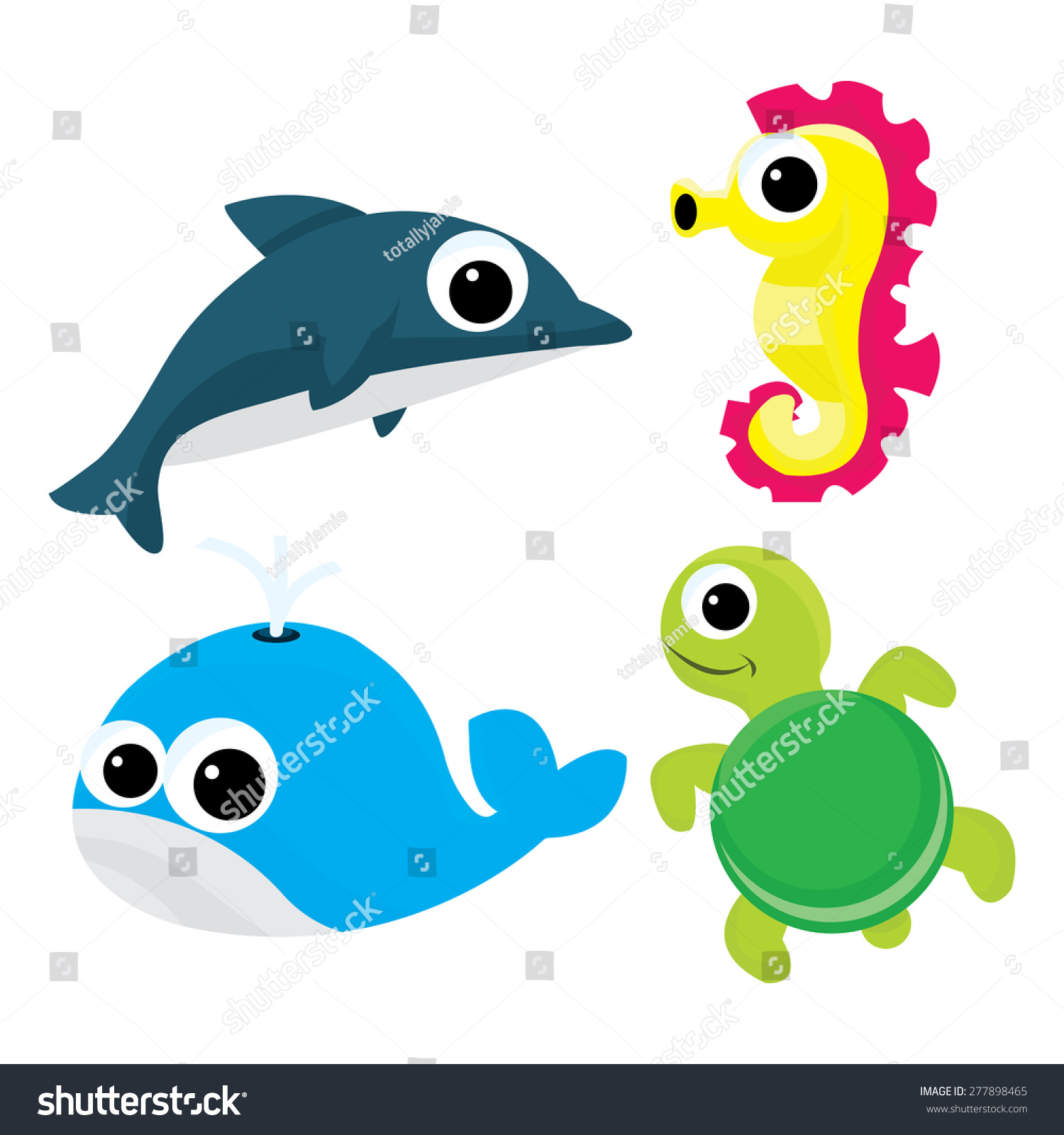 cartoon vector illustration set four cute stock vector 277898465