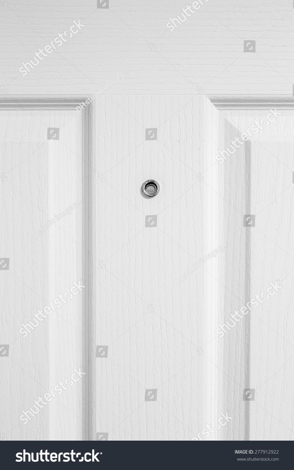 white wood door texture. Close Up, Door Lens Peephole Security On White Wooden Texture Wood