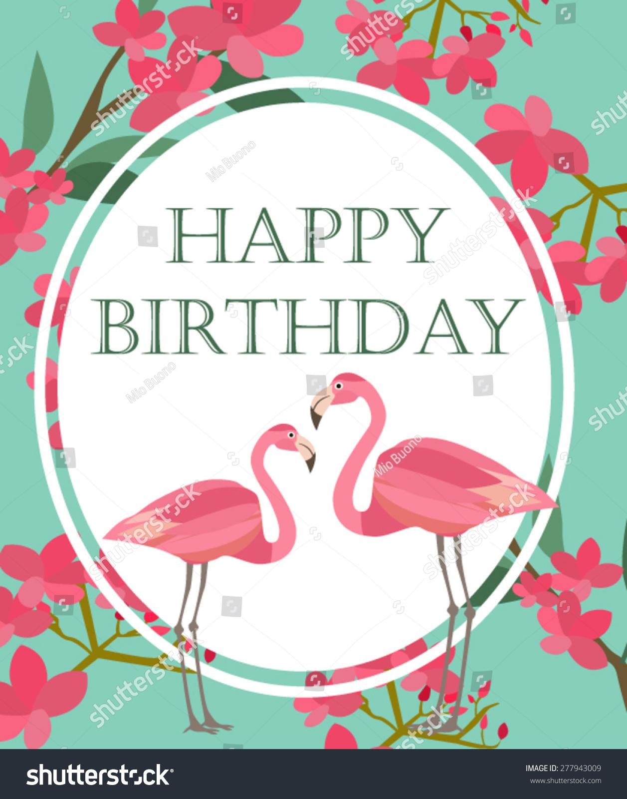 Happy Birthday Card Flamingo Stock Vector Shutterstock