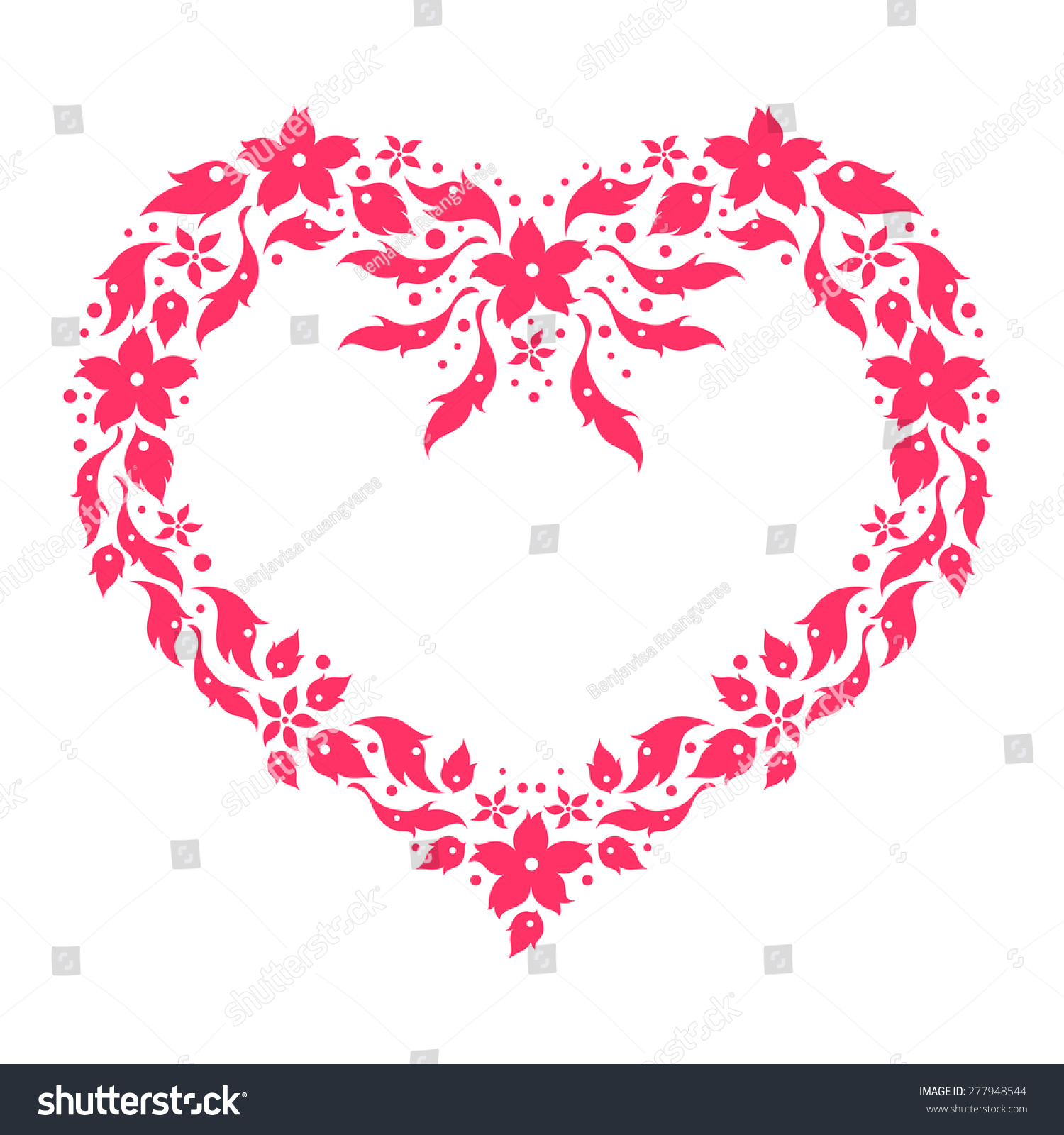 Heart Floral Pattern Love Flower Frame Stock Vector (2018) 277948544 ...