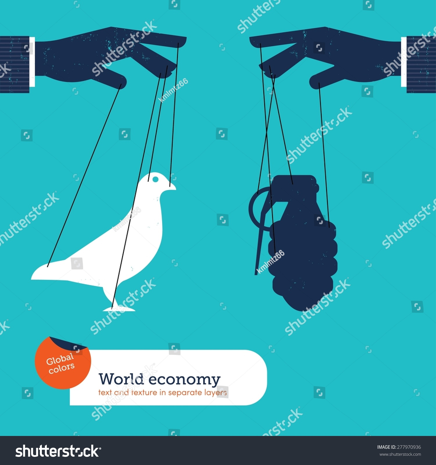 Hand controlling peace and war Vector illustration Eps10 file Global colors Text and Texture in separate layers