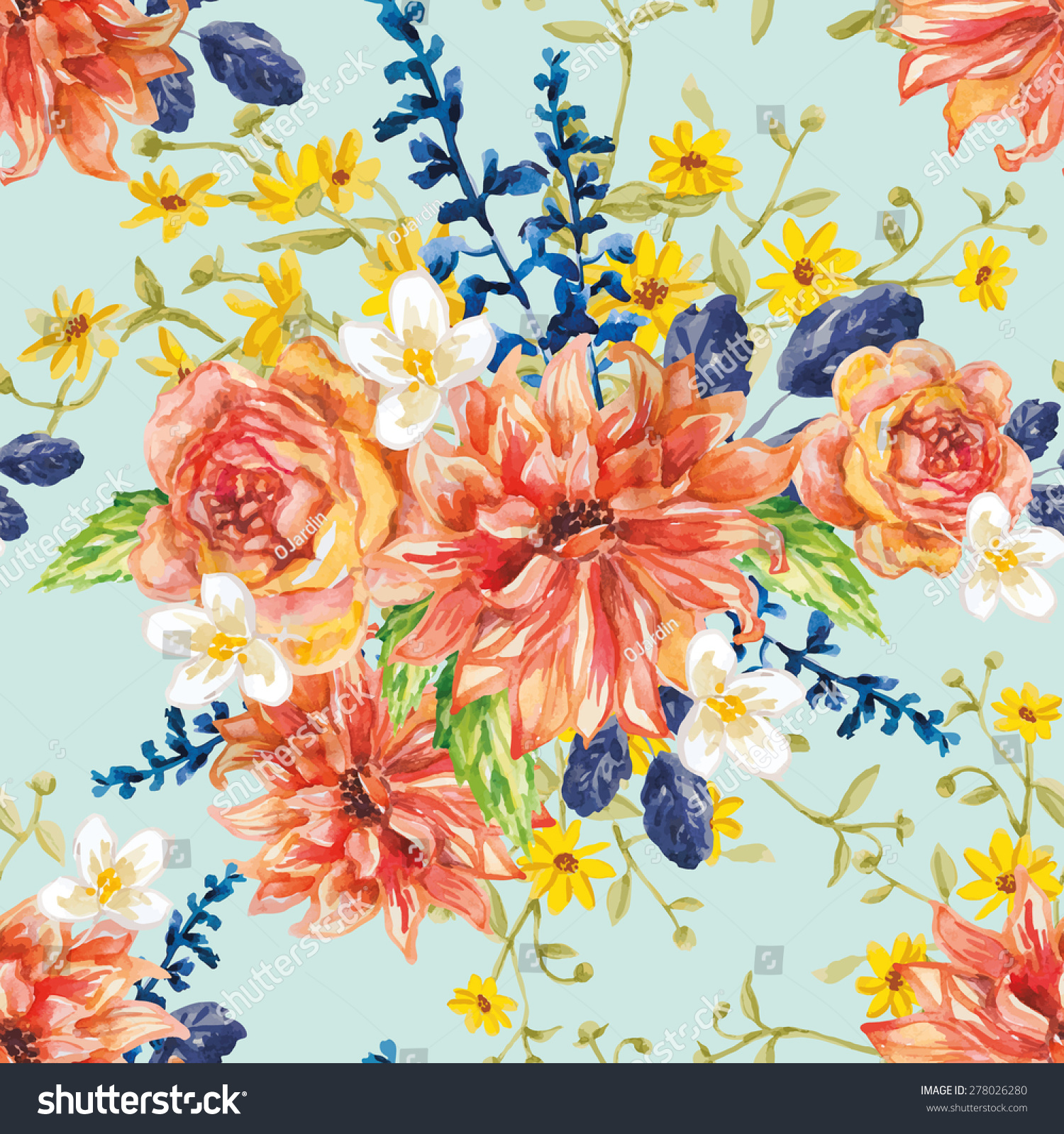 Red Orange Yellow Flowers Blue Leaves Stock Vector Royalty Free