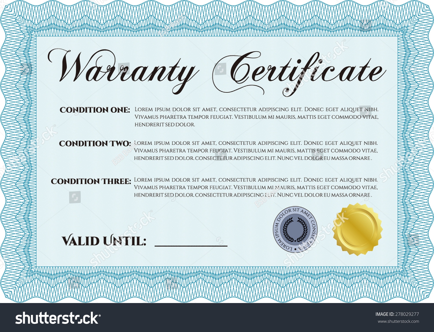 Sample warranty certificate template easy print stock vector sample warranty certificate template easy to print perfect style complex frame design yadclub Image collections