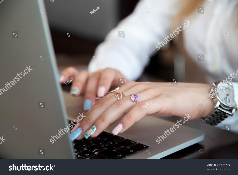 Modern Office Girl Hands On Laptop Stock Photo 278030009 ...