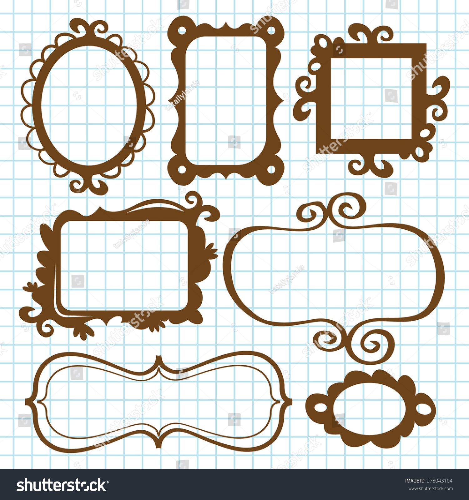 Set Fanciful Whimsical Frames Bookplates Doodle Stock Vector ...