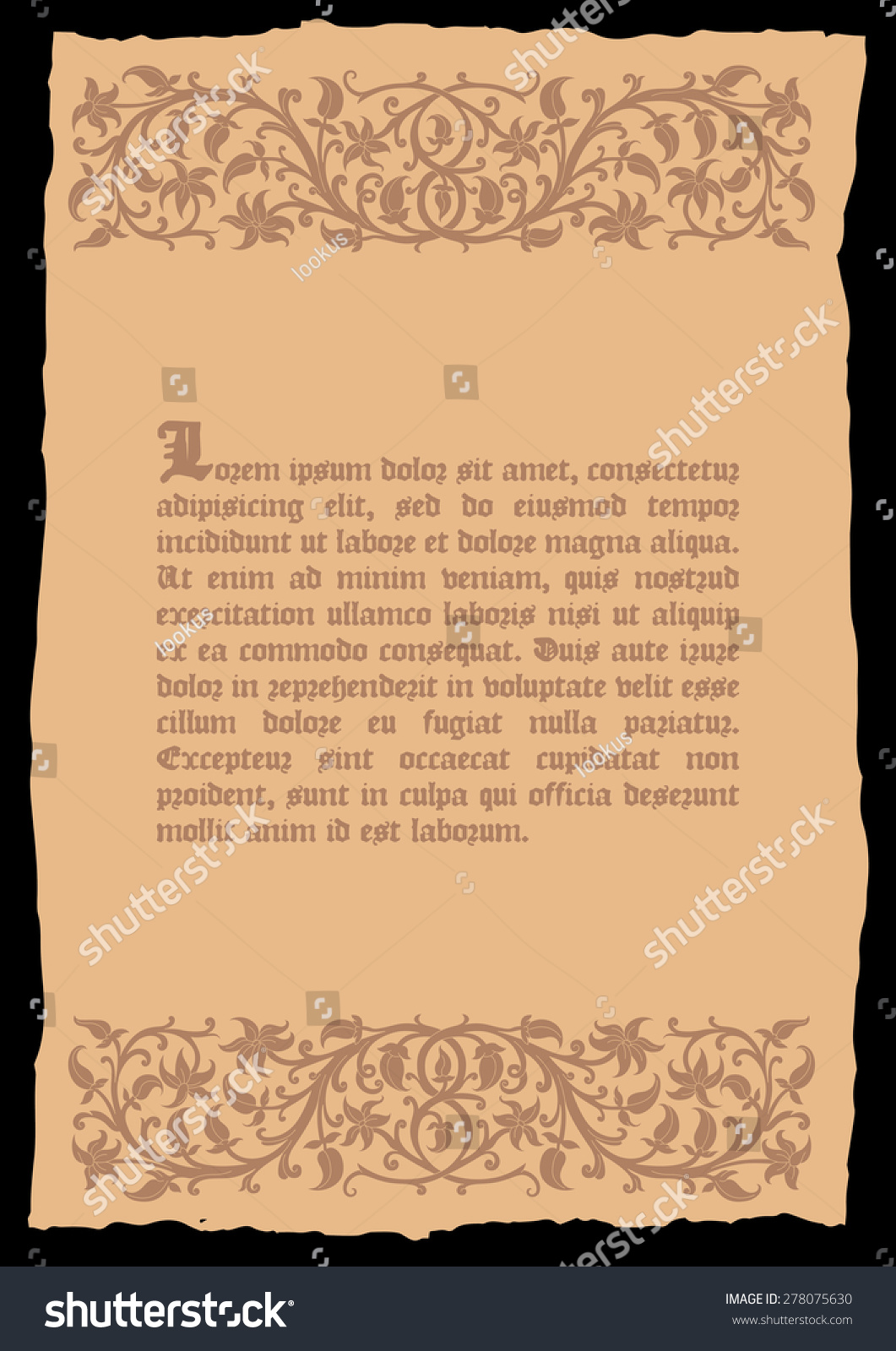 Template Book Page Medieval Style Place Stock Vector 2018