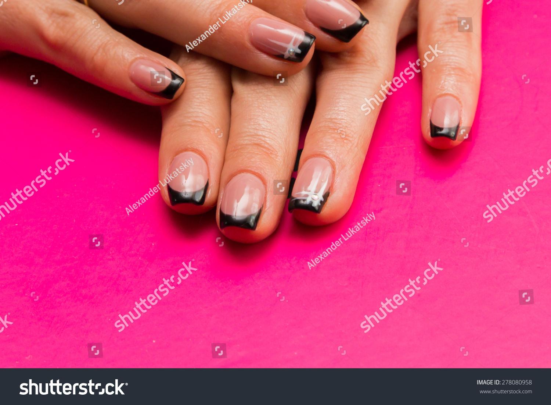 Beautiful Manicure Nails Beautiful Female Hands Stock Photo ...
