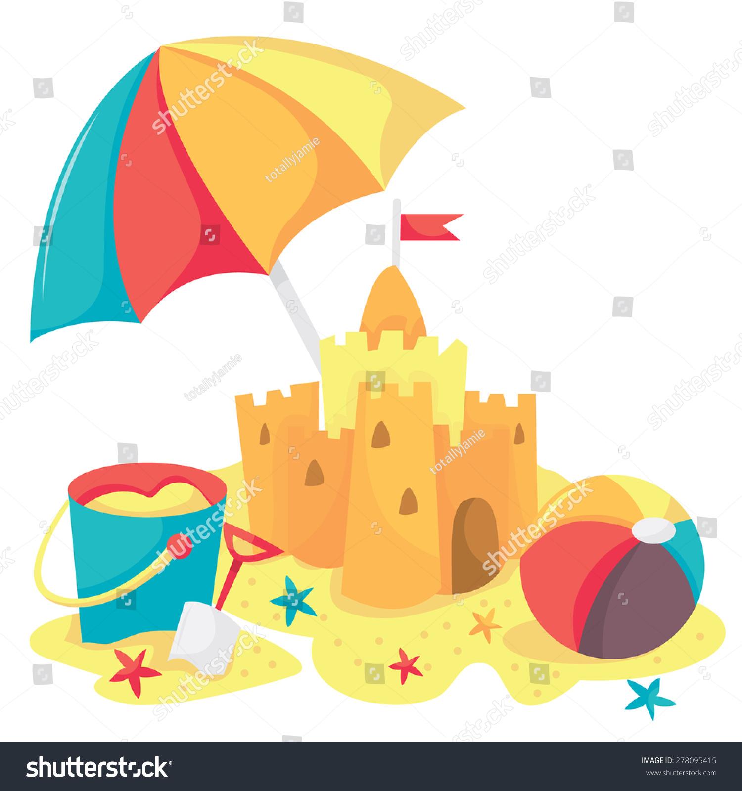 Cartoon Vector Illustration Sandcastle Bucket Beach Stock ...