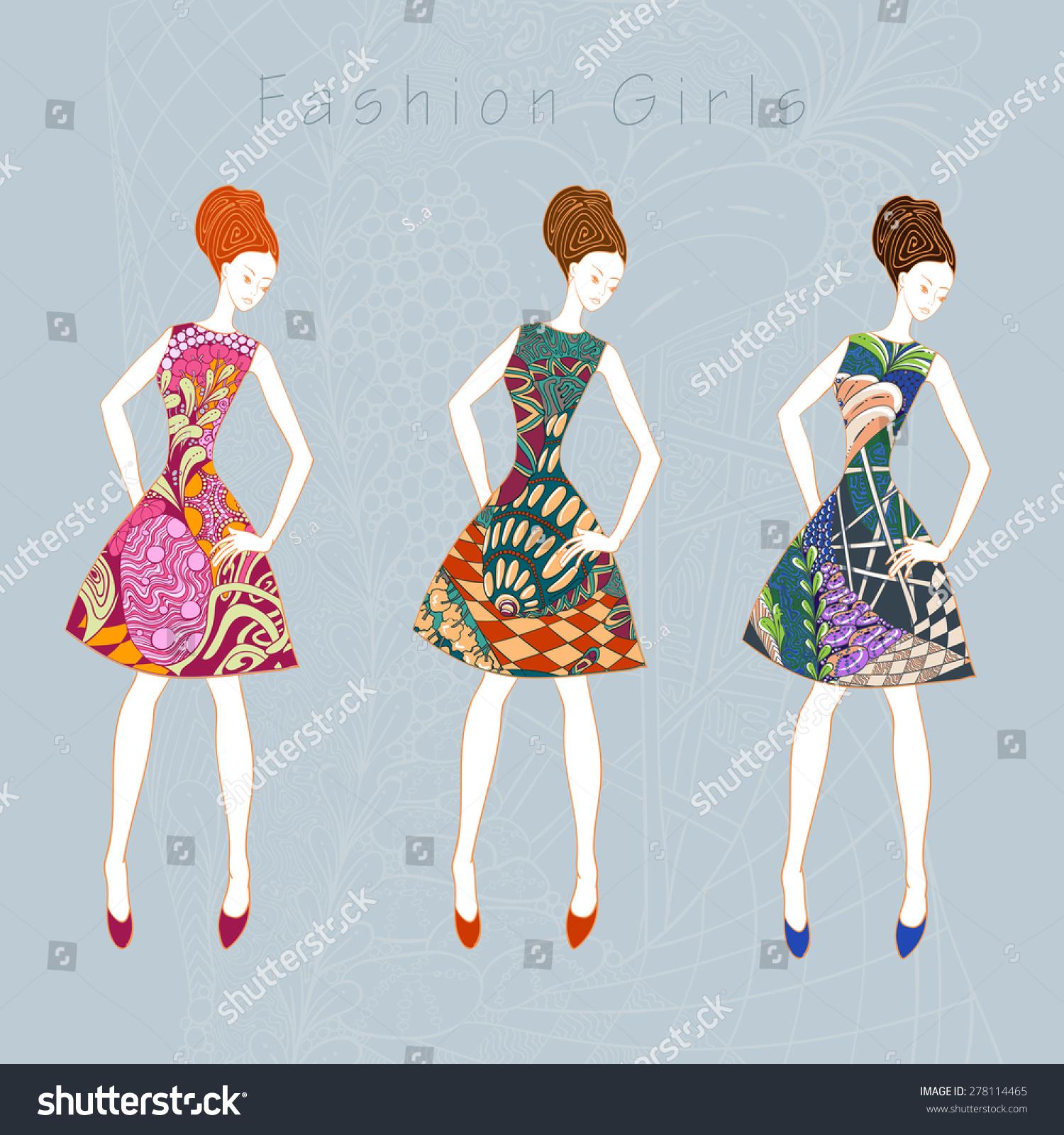 Fashion Girl Wearing Dresses Flower Ornamental Stock Vector Royalty