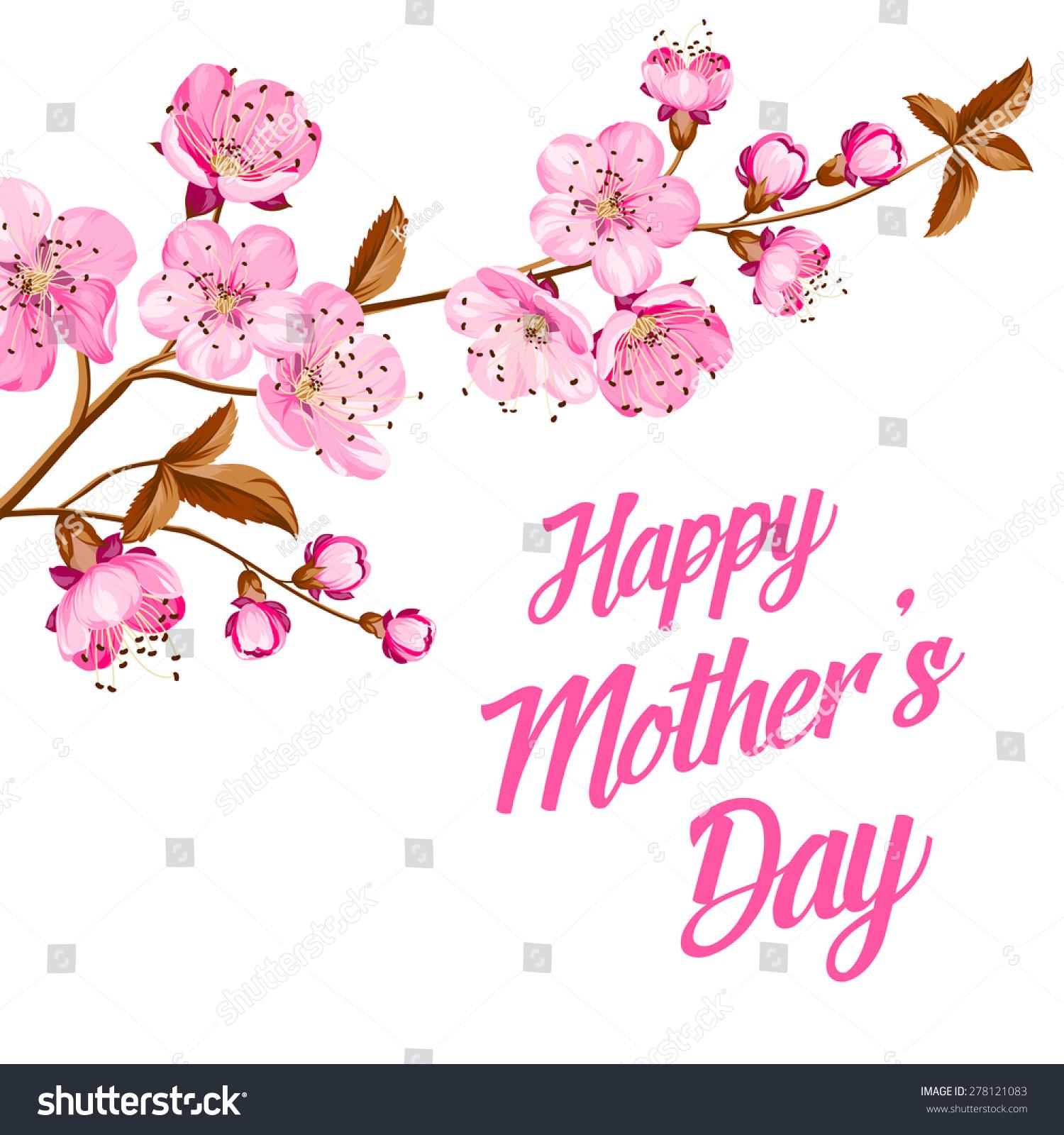 Greeting Card On Mothers Day Sakura Stock Vector Royalty Free