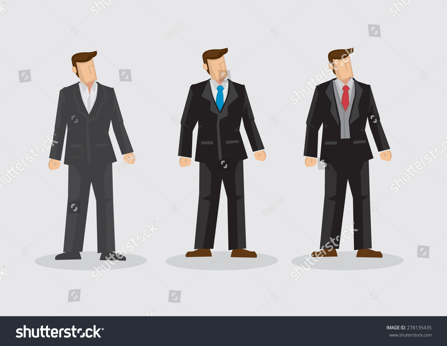 Men Wearing Different Style Formal Black Stock Vector 278135435 ...