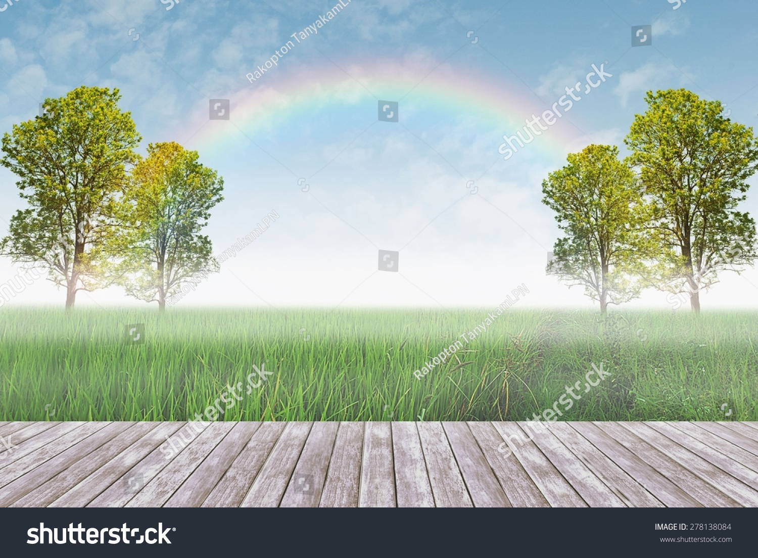 Wood terrace trees green field on stock photo 278138084 for Terrace trees