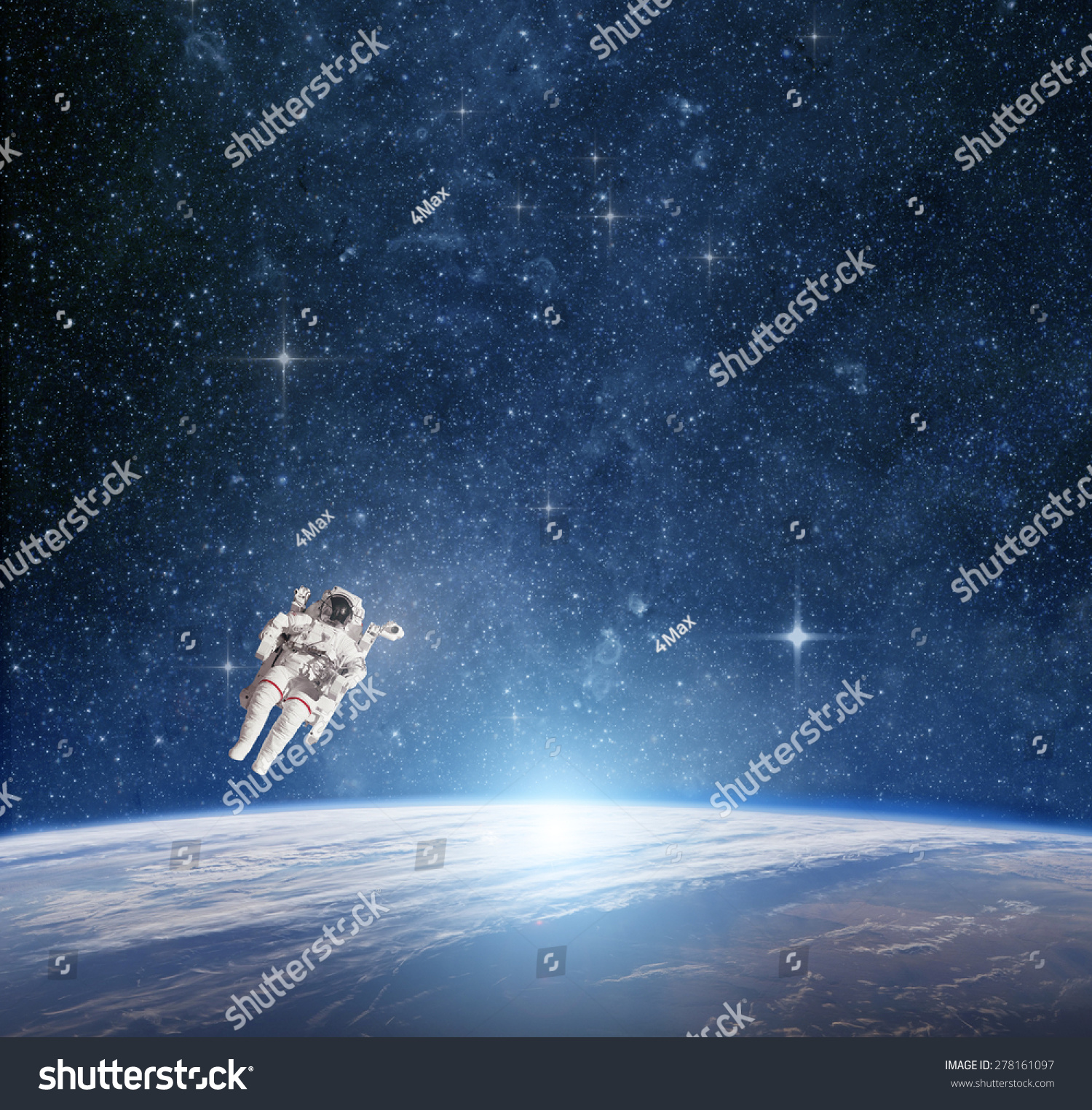 Astronaut in outer space against the planet earth for Outer space elements