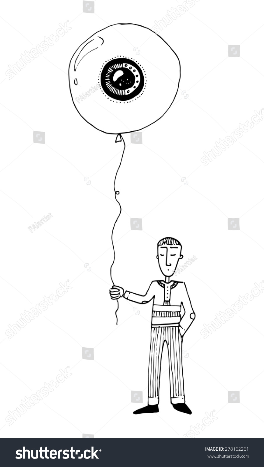 illustration boy with a balloon eye shape simple drawing children - Simple Drawing Pictures For Children
