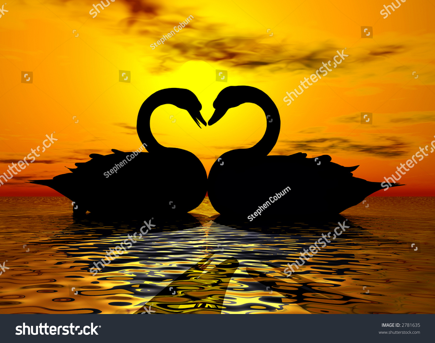 Two Swans Forming A Heart Under The Sunset Stock Photo ...