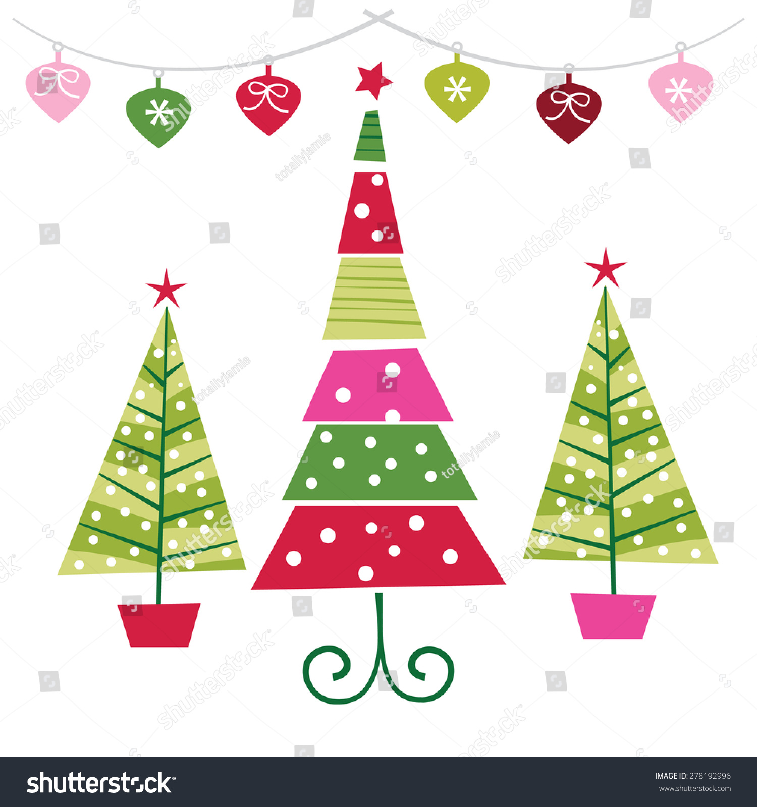 a vector illustration set of funky retro christmas trees with ornaments - Retro Christmas Tree