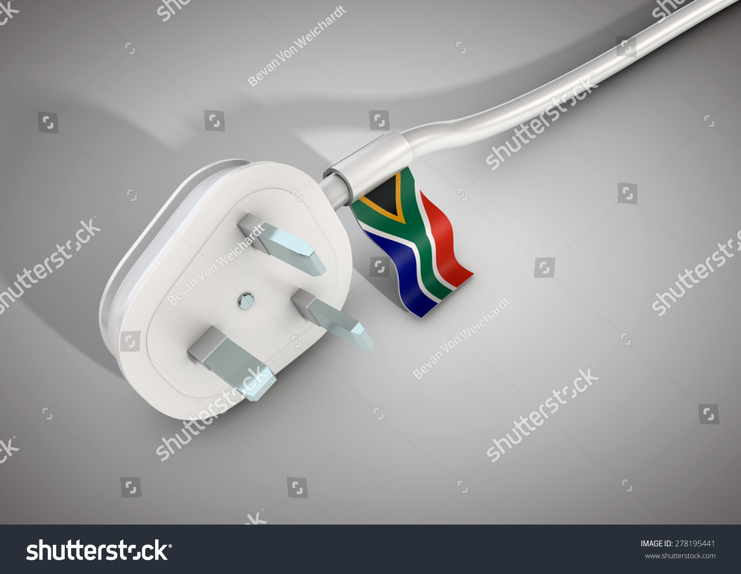 3d Illustrationelectrical Power Cable Plug South Stock Illustration 278195441