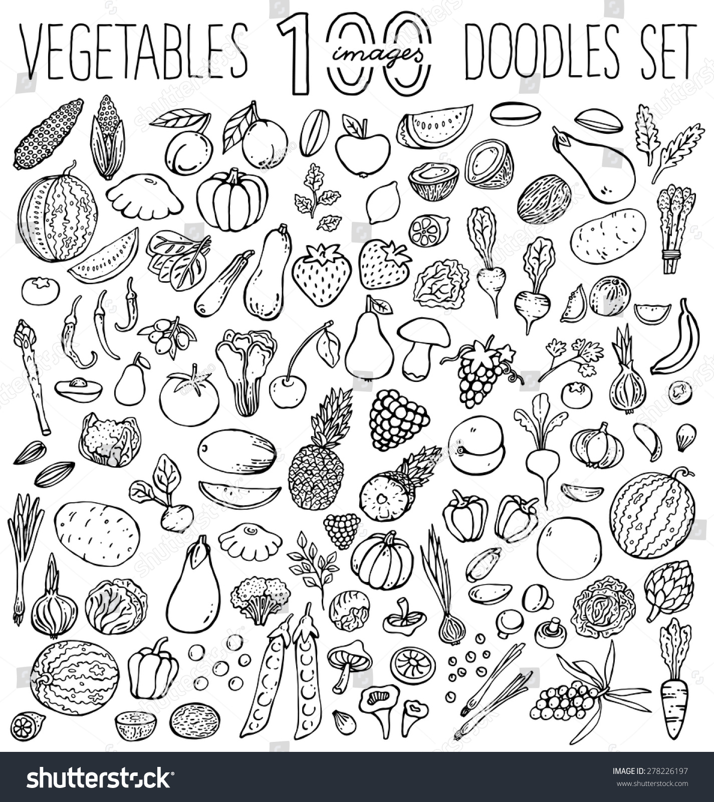 freehand color drawing vegetables fruits on stock vector 278226197