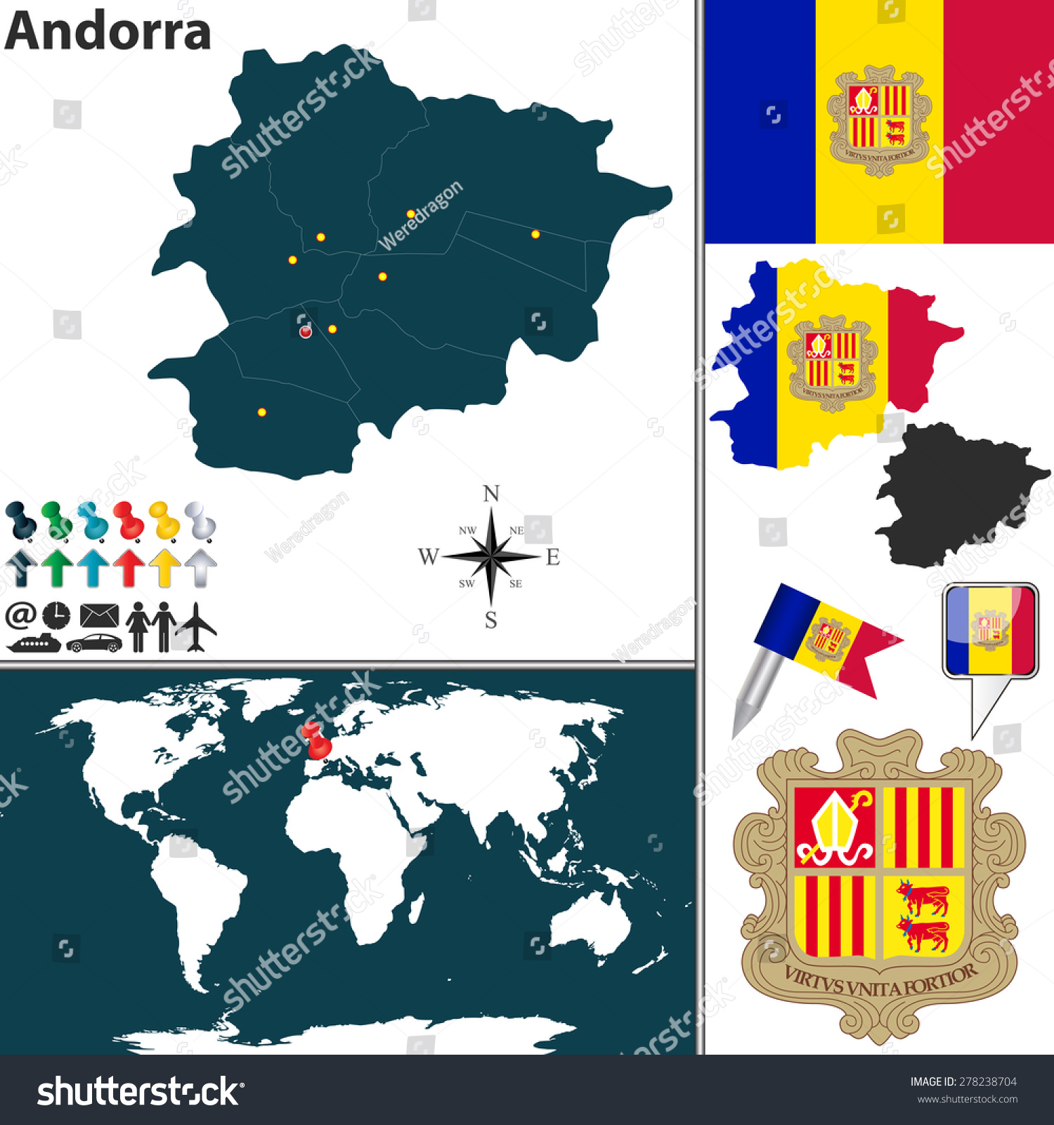 Vector map andorra regions coat arms vectores en stock 278238704 vector map of andorra with regions coat of arms and location on world map gumiabroncs
