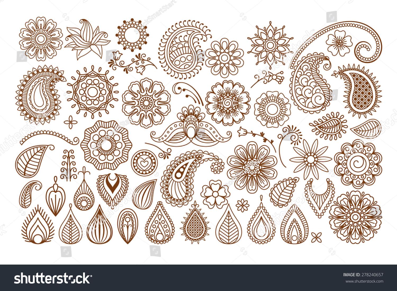 Henna Tattoo Vector: Henna Tattoo Doodle Vector Elements On Stock Vector