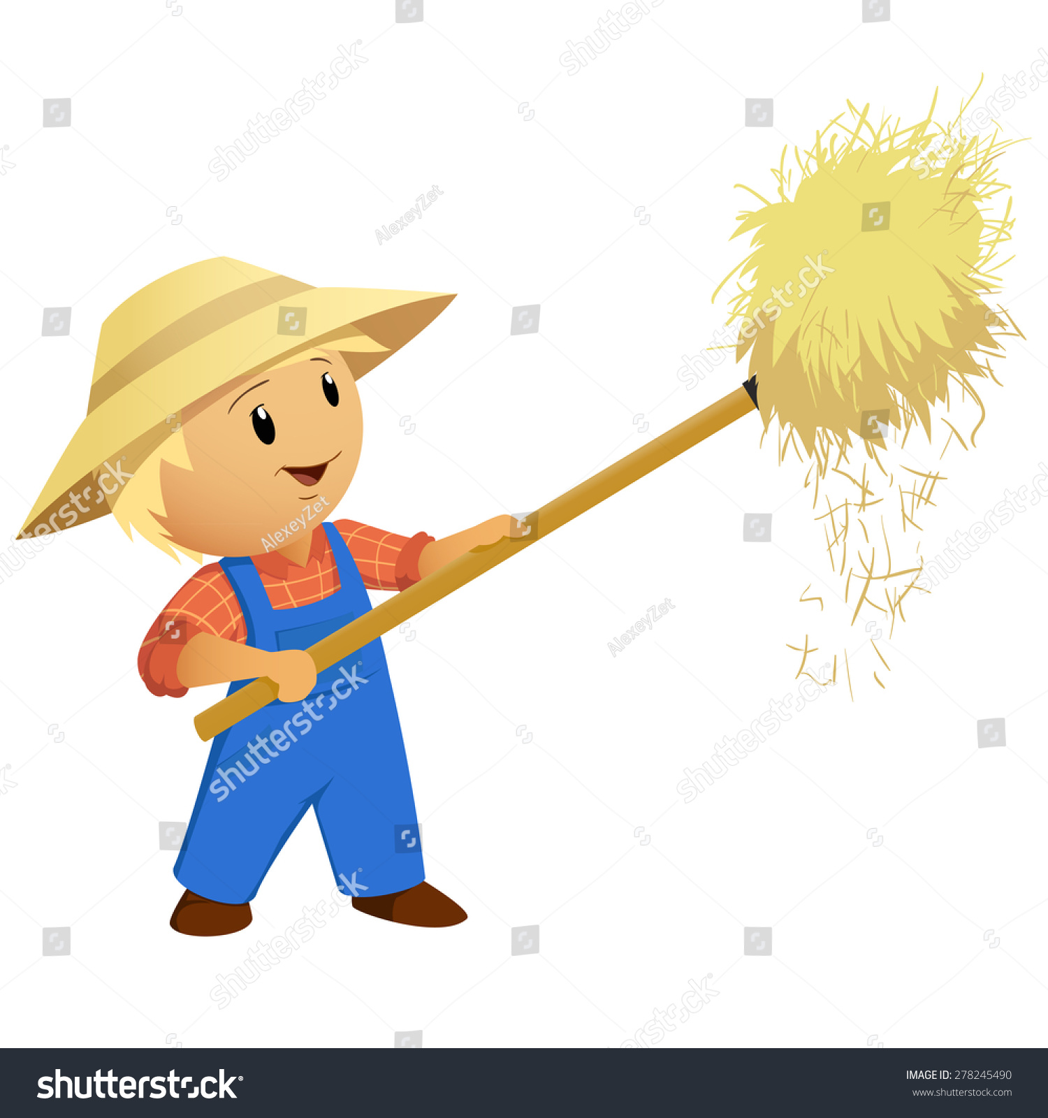 Hay Farmer Tractor Cartoon : Cartoon farmer hay hat pitchfork vector stock