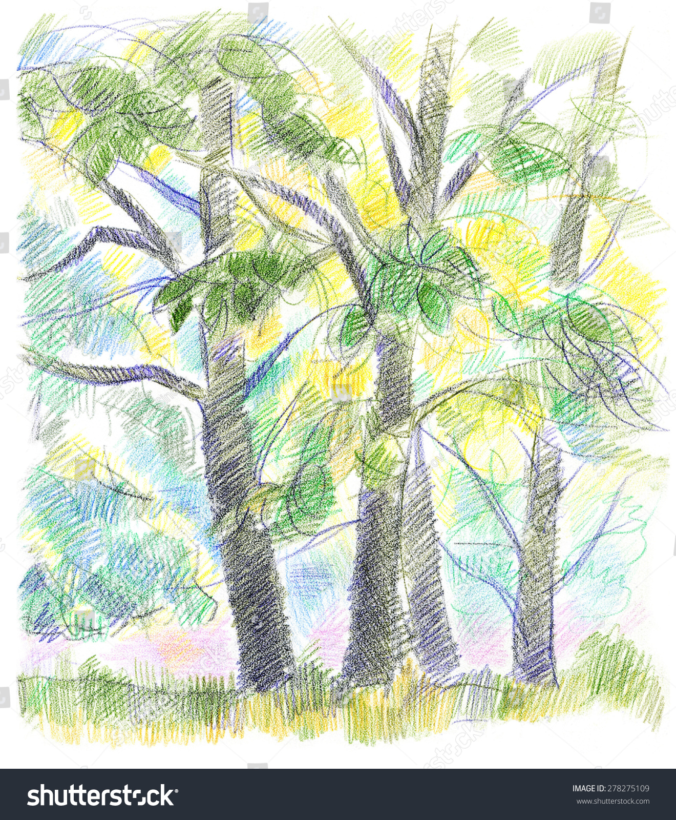 Expressive Colorful Handdrawn Trees Near River Stock Illustration ...