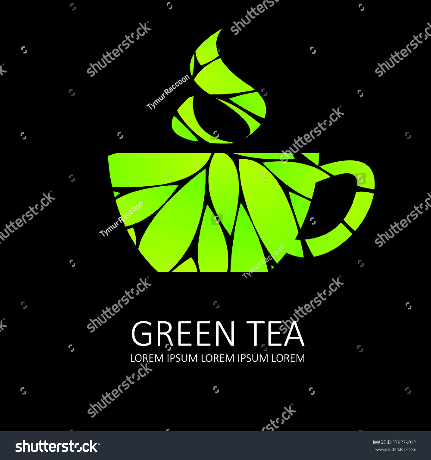 green tea icon black background stock vector royalty free 278279012 https www shutterstock com image vector green tea icon black background 278279012