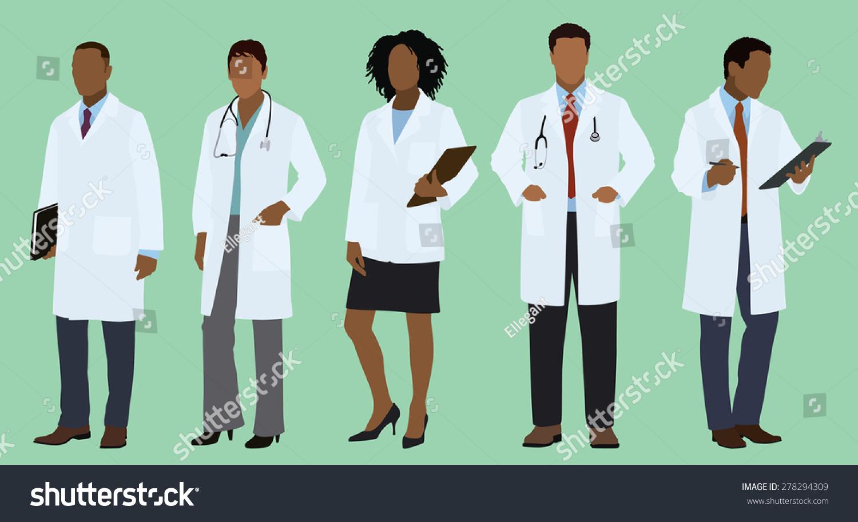 black african doctors wearing lab coats stock vector 278294309