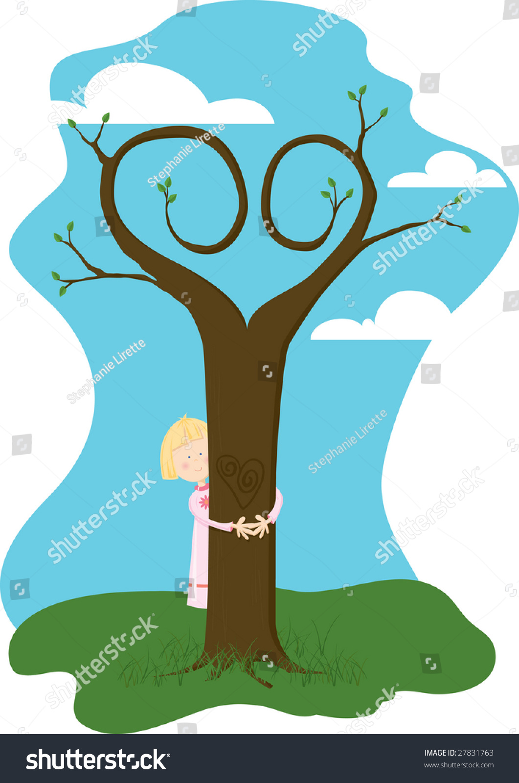 Tree Hugger Girl Giving Tree Hug Stock Vector Royalty Free