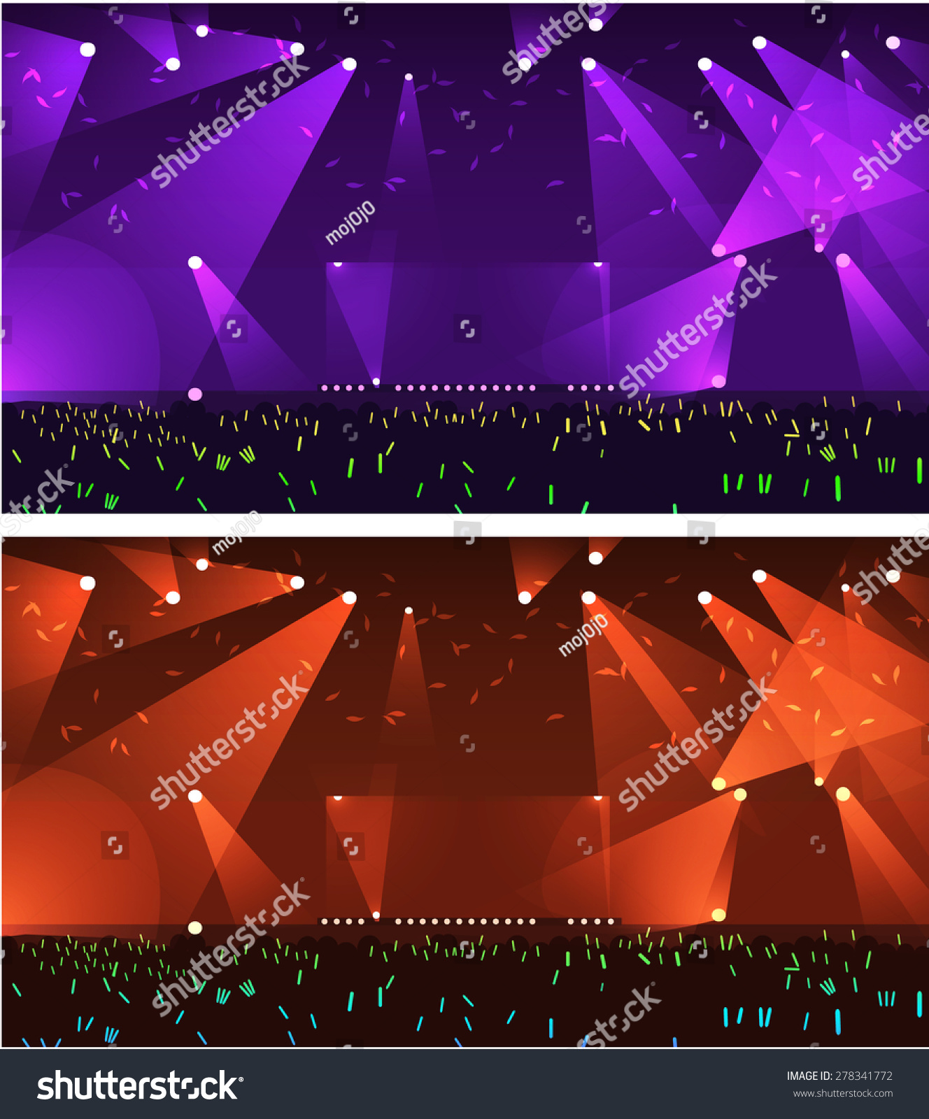 Pics photos rock concert background - Set Of Empty Stage Rock Concert Event With Spot Light Vector Background With Happy People Raising