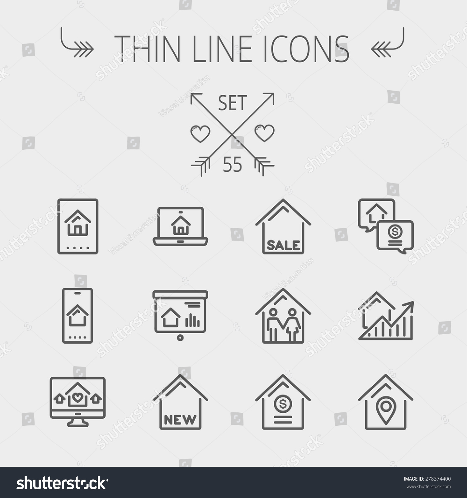 Real Estate Thin Line Icon Set Stock Vector Shutterstock