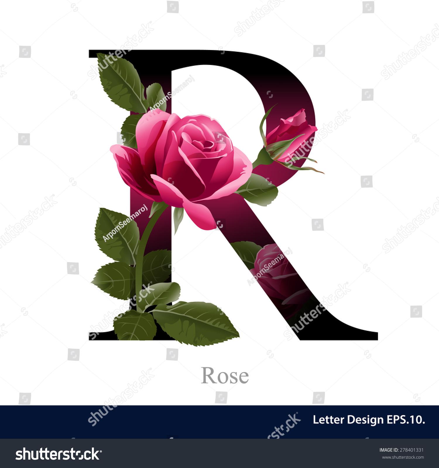 Letter R Vector Alphabet Rose Flower Stock Vector Royalty Free