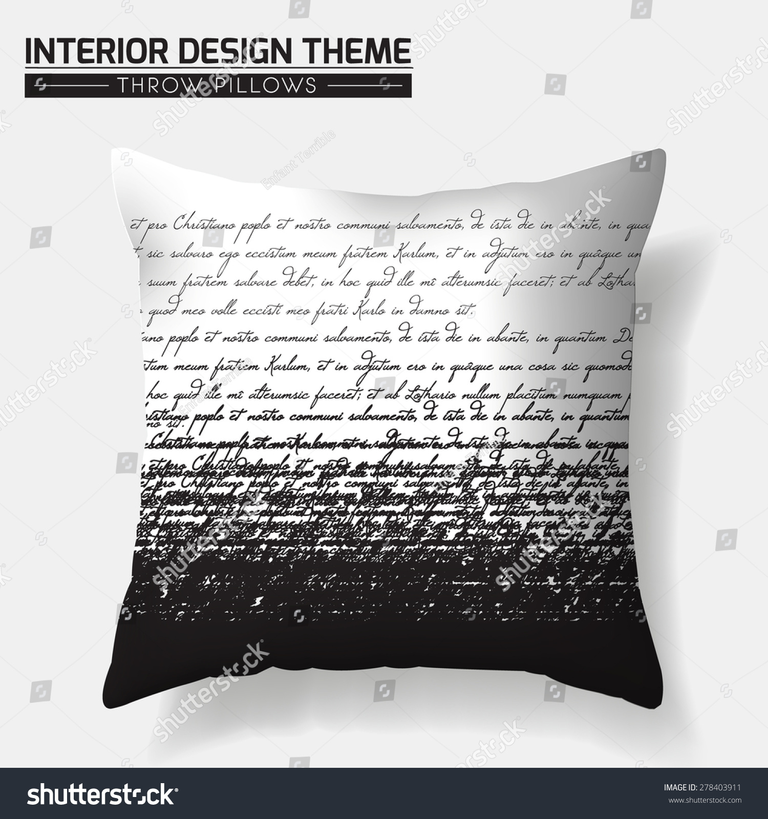 Decorative Calligraphic Writing Throw Pillow Design Template. Original Pattern Is Complete ...