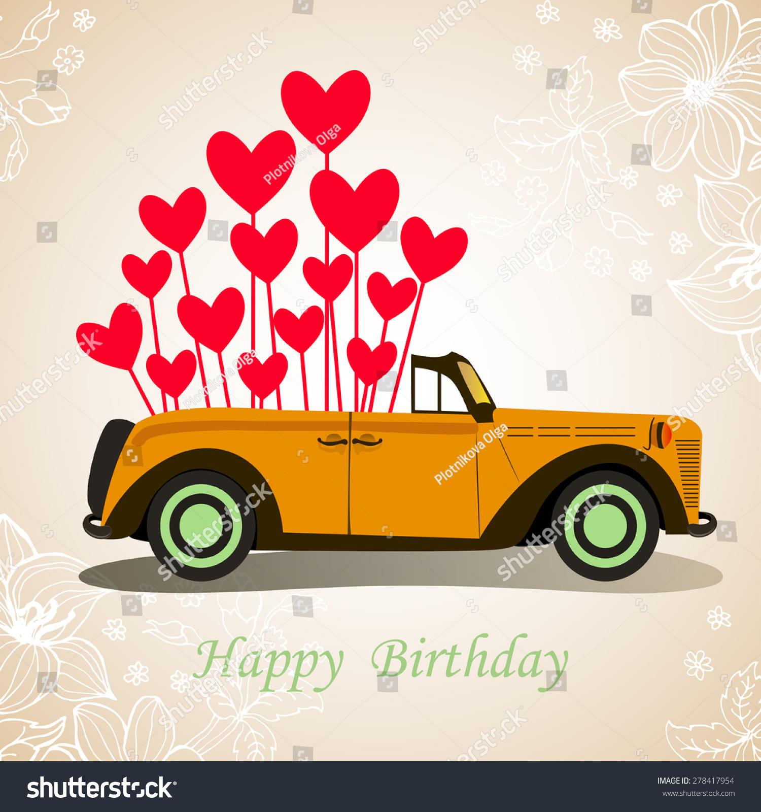 Retro Cabriolet Car Happy Birthday With Hearts 278417954