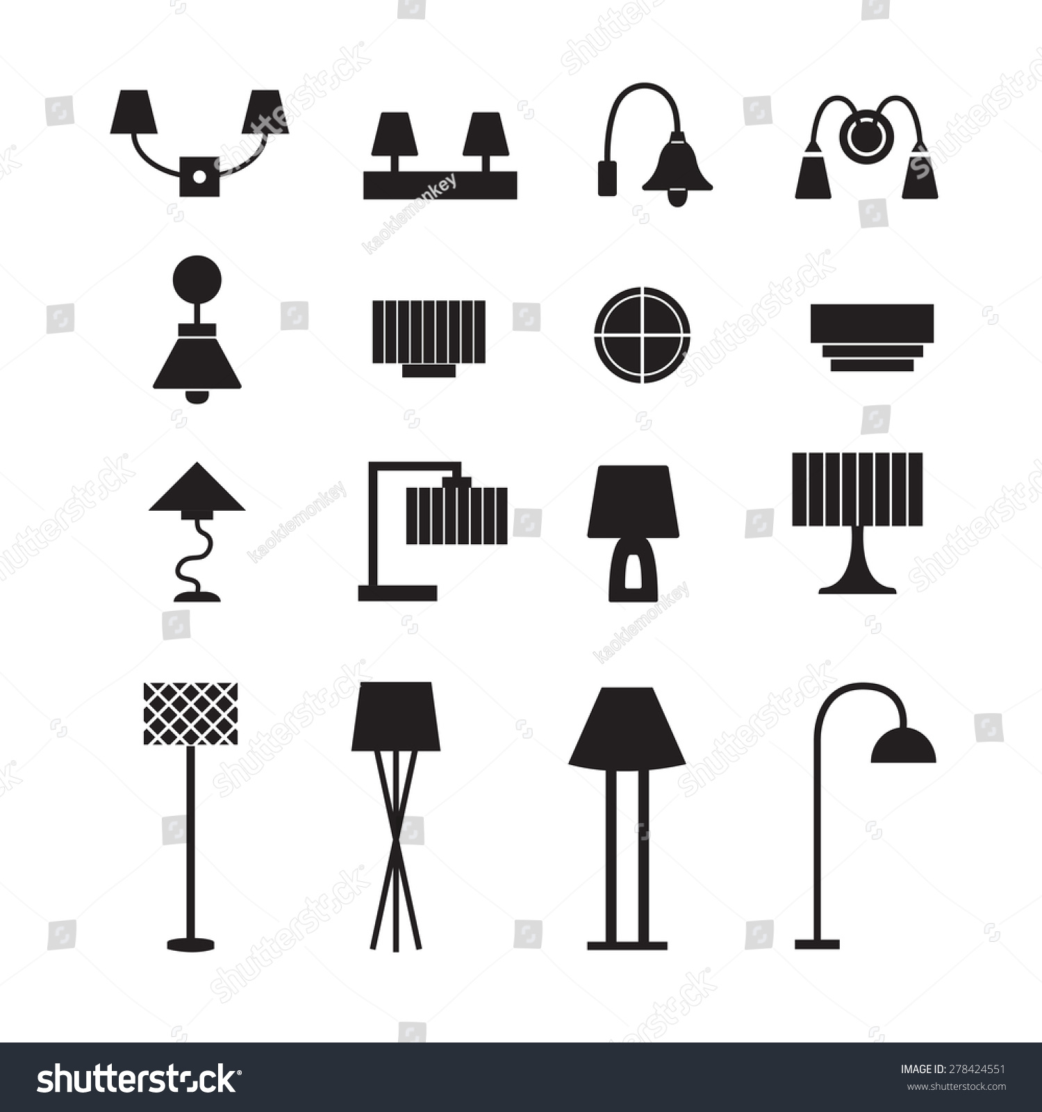 Wall Lamps Vector : Lamp Vector, Wall Lamp, Desk Lamp, Floor Lamp, Decorate Lamp Icon Set - 278424551 : Shutterstock