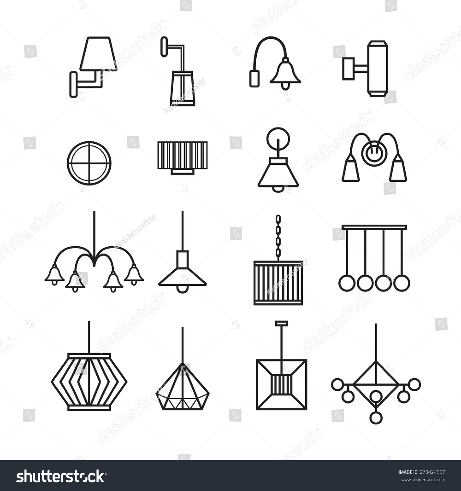 Wall Lamps Vector : Lamp Vector,Wall Lamp,Chandelier, Decorate Lamp Icon Set - 278424557 : Shutterstock