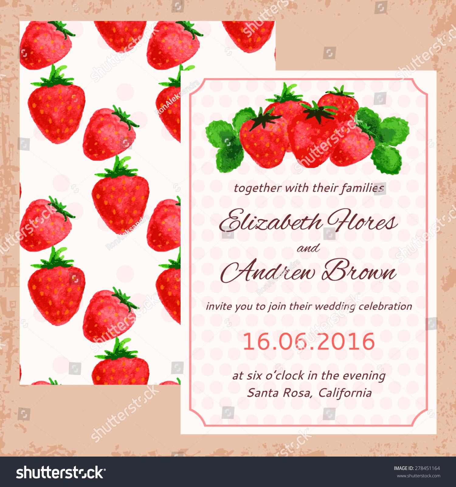 Vector Wedding Invitation Watercolor Strawberries Seamless Stock ...