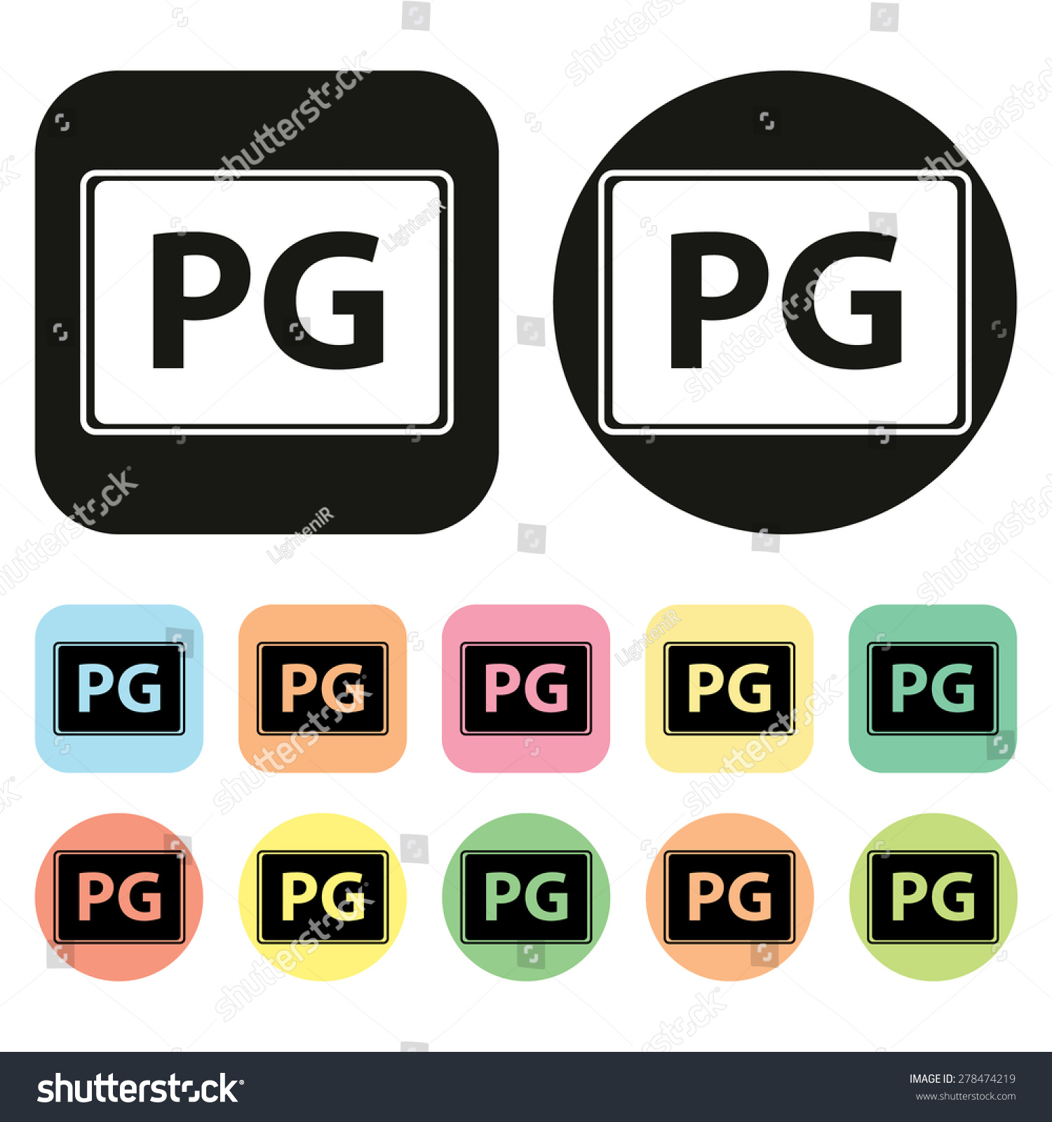 Pg Rate Icon Parental Guidance Icon Stock Vector 278474219
