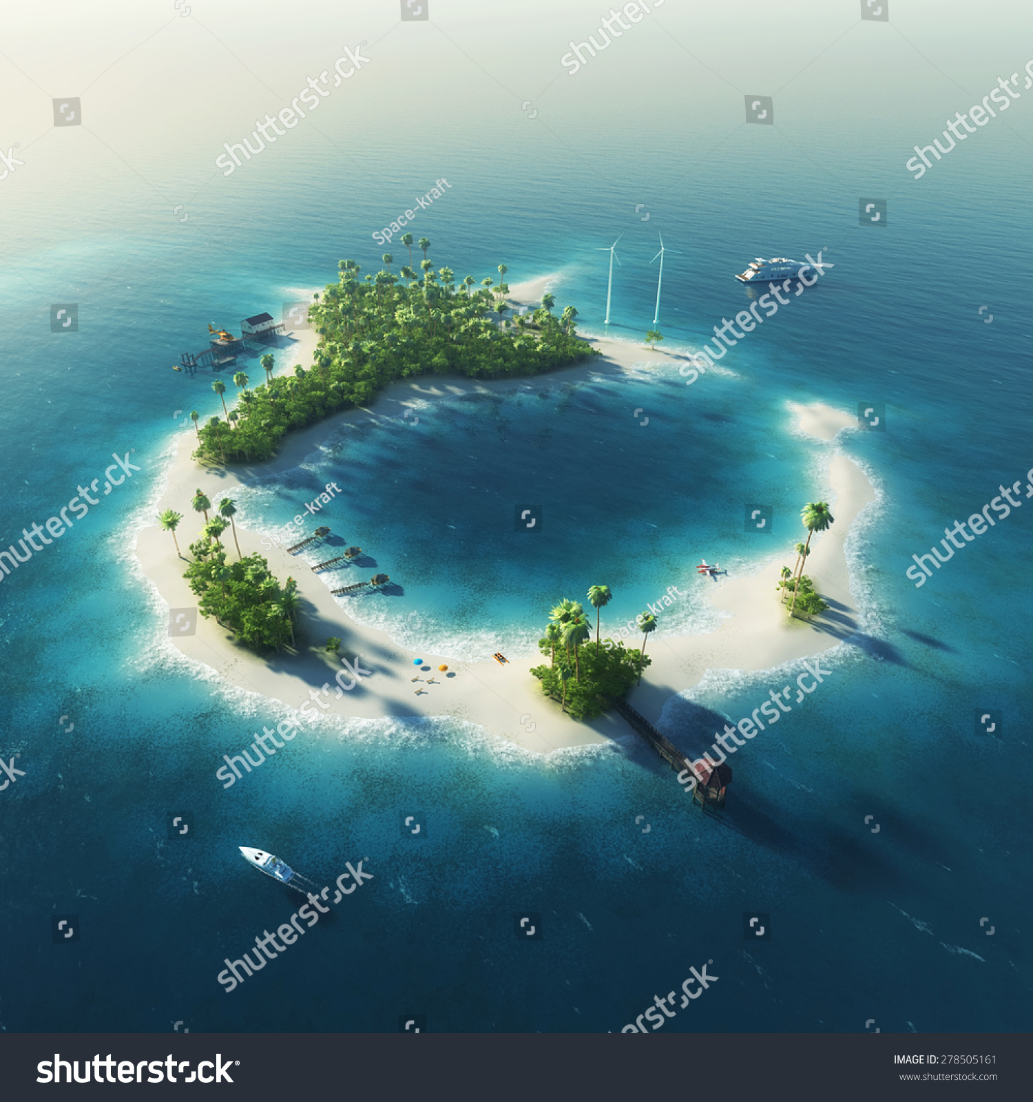 Tropical Island Paradise: Private Island Paradise Summer Tropical Island Stock
