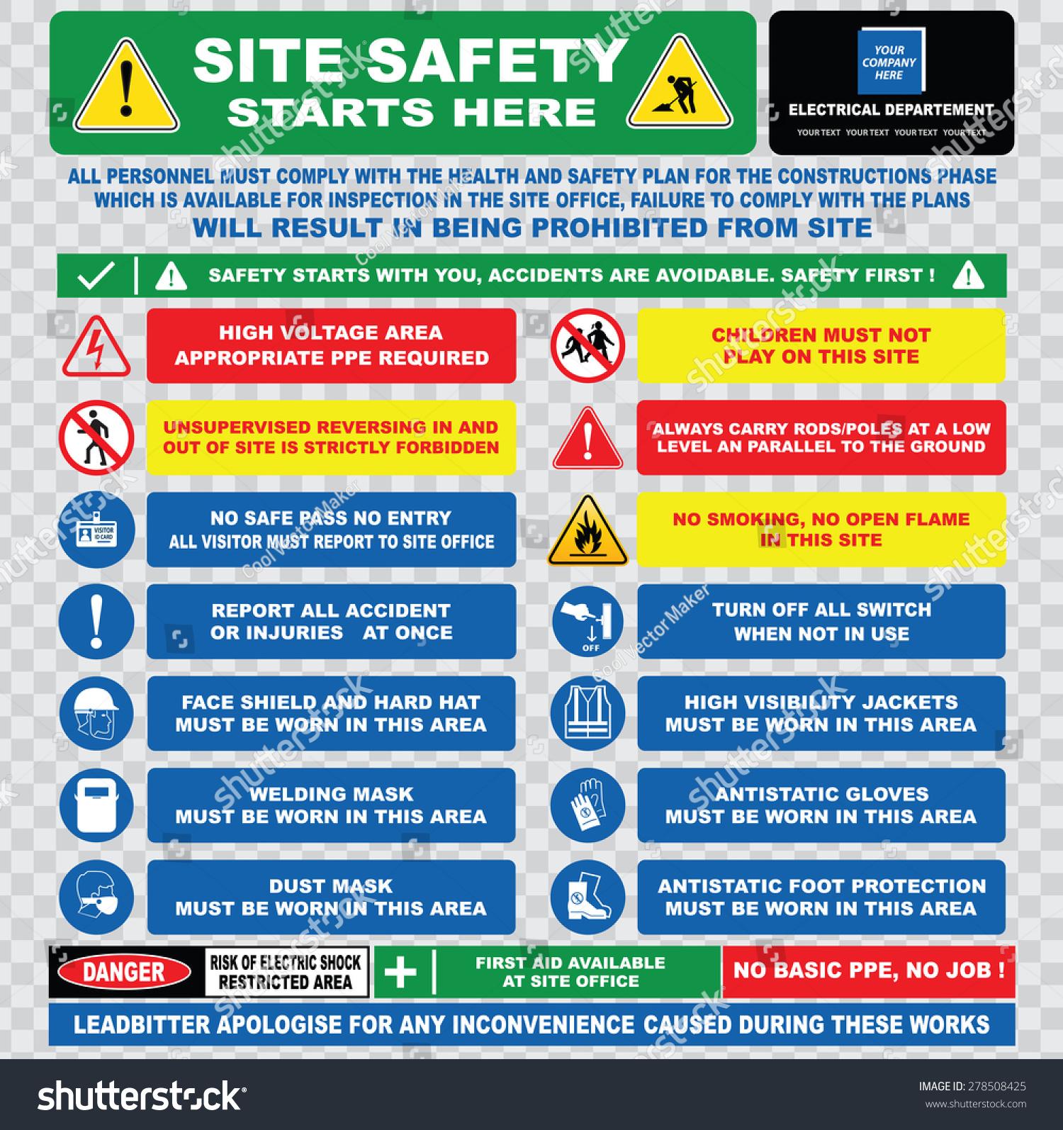 site safety starts here site safety stock vector 278508425 shutterstock. Black Bedroom Furniture Sets. Home Design Ideas