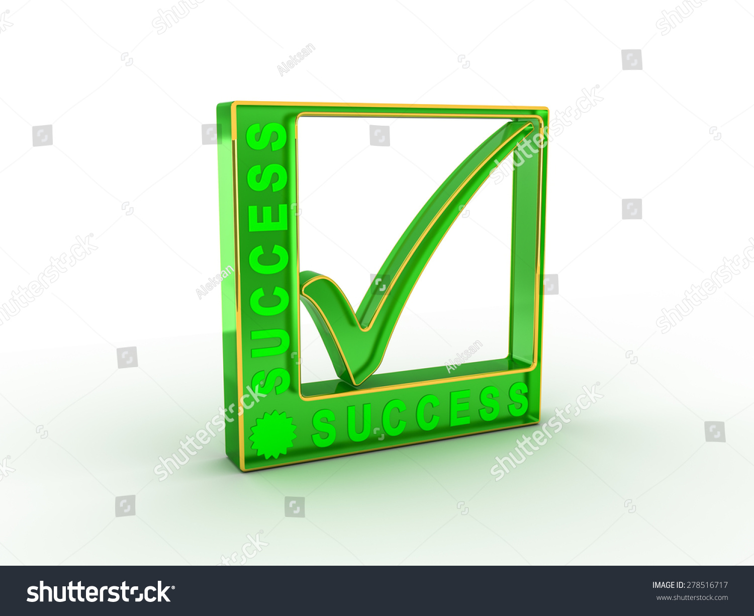 Check Mark Icon Rectangle Success Word Stock Illustration 278516717