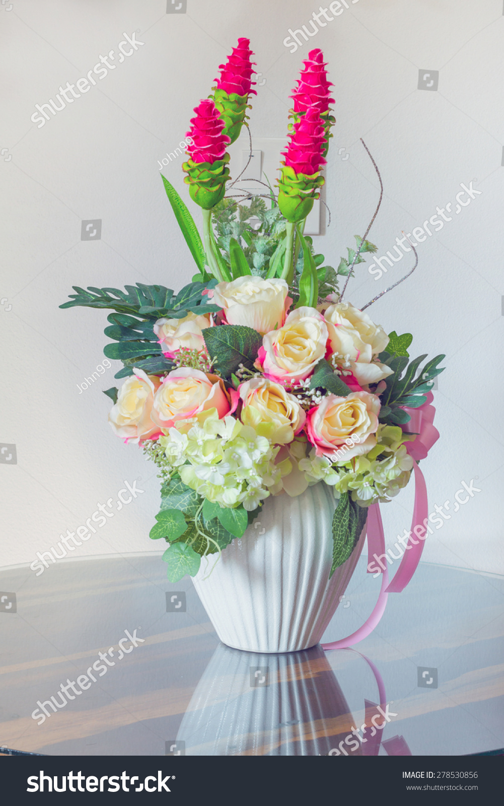 Beautiful fake flowers white pot on stock photo royalty free beautiful fake flowers in white pot on wood table cool tone izmirmasajfo