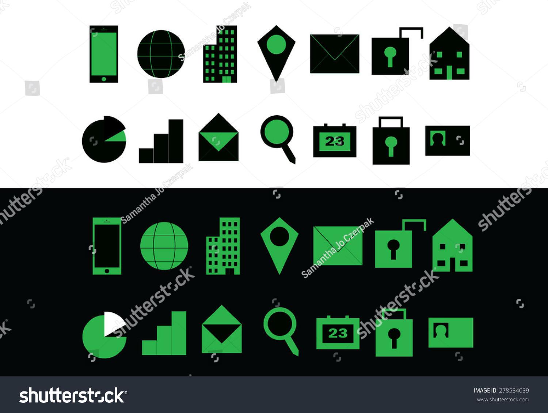 Green Set Modern Communication Web Icons Stock Vector Royalty Free