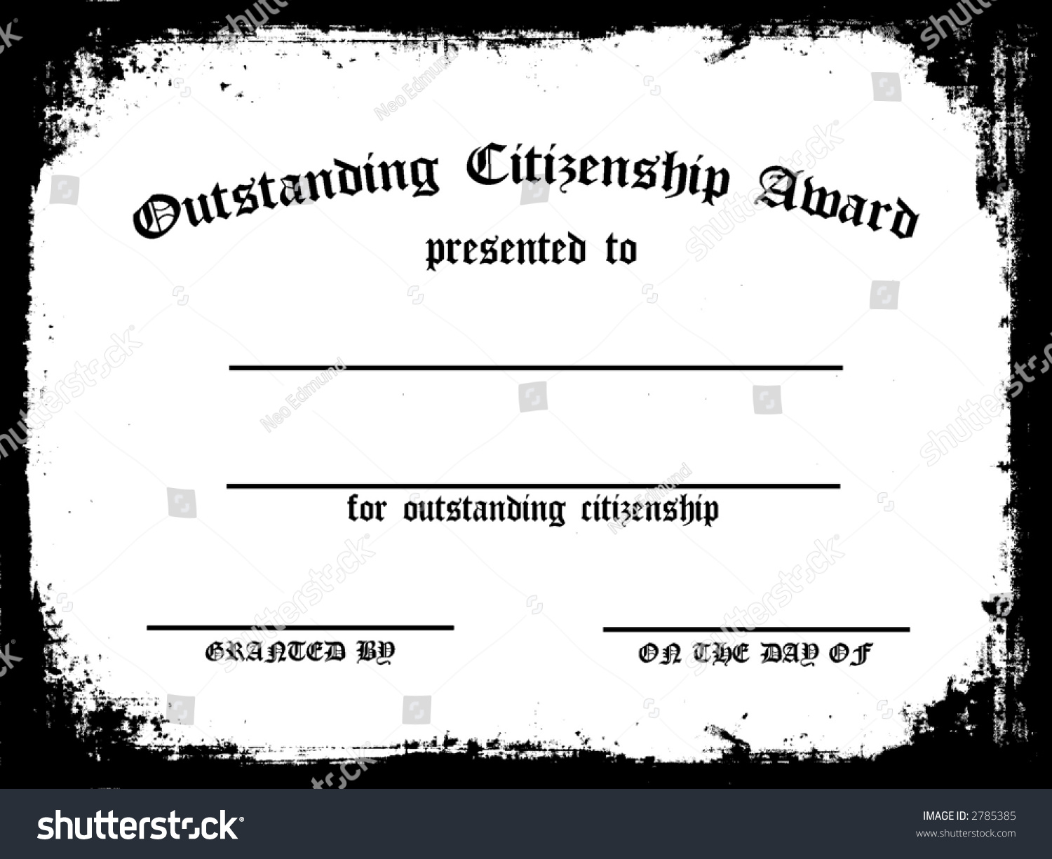 Customizable Outstanding Citizenship Award Certificate Stock