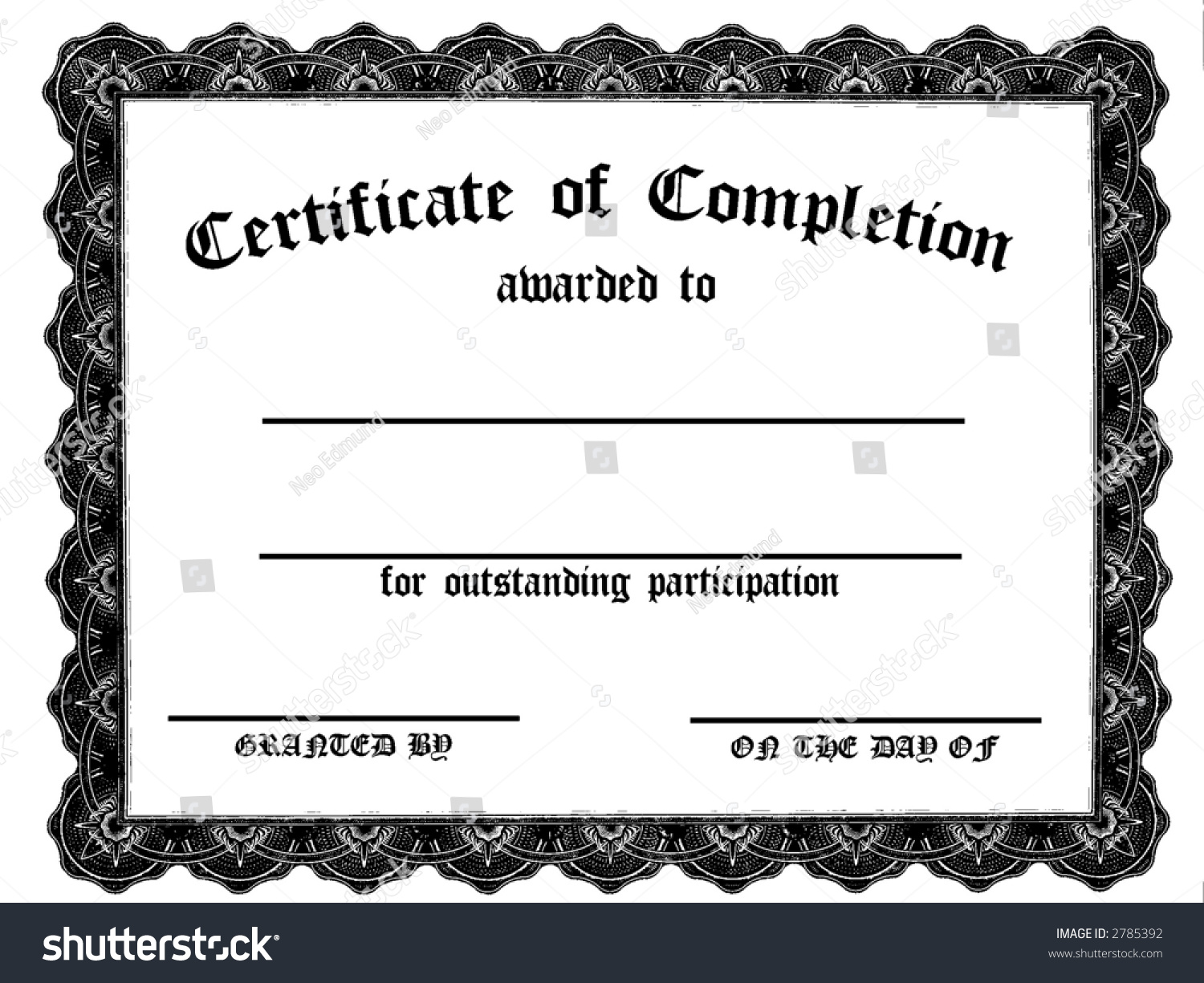Customizable Certificate Of Completion Stock Photo 2785392 ...