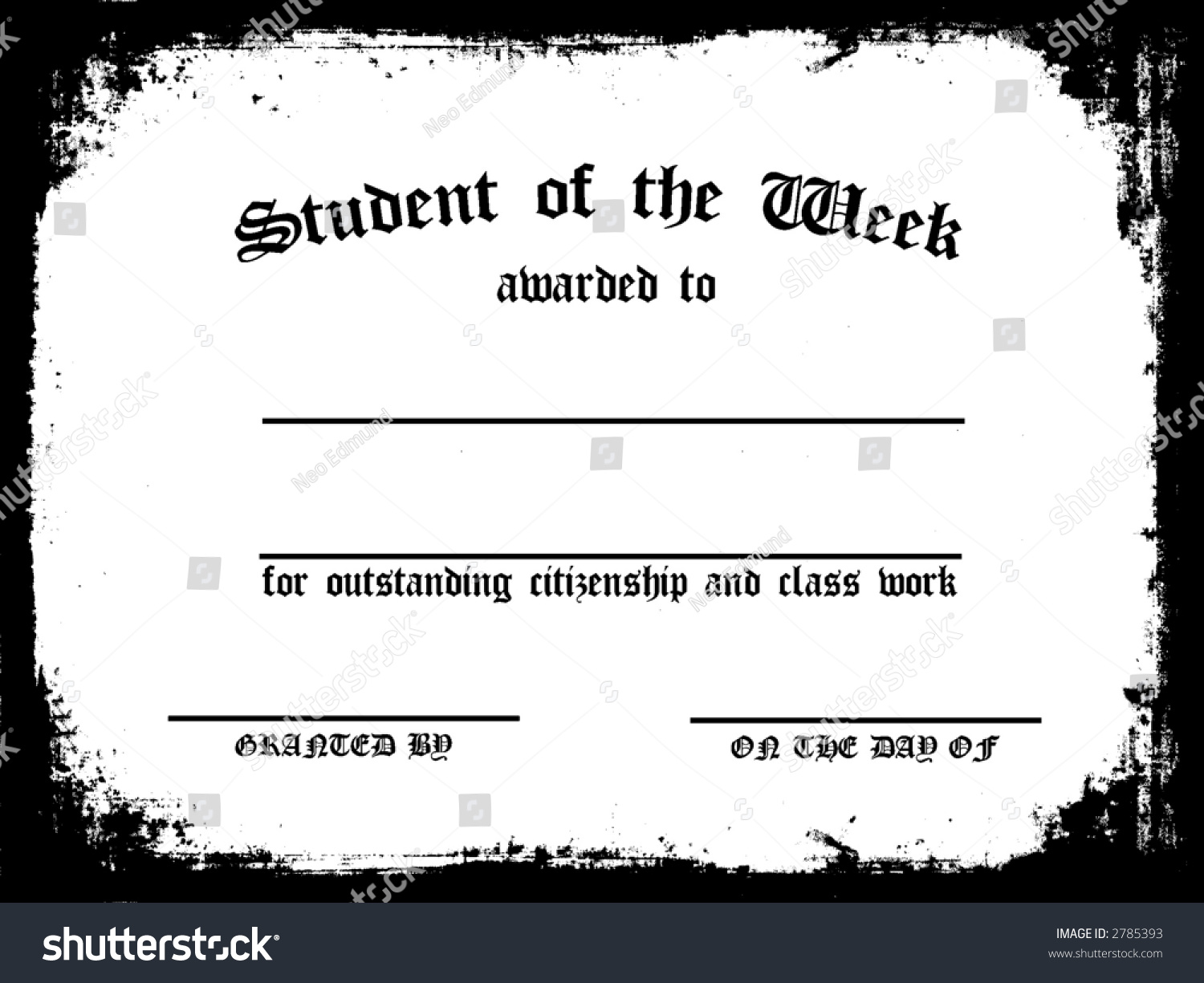 Customizable student on week certificate stock illustration customizable student on the week certificate xflitez Choice Image