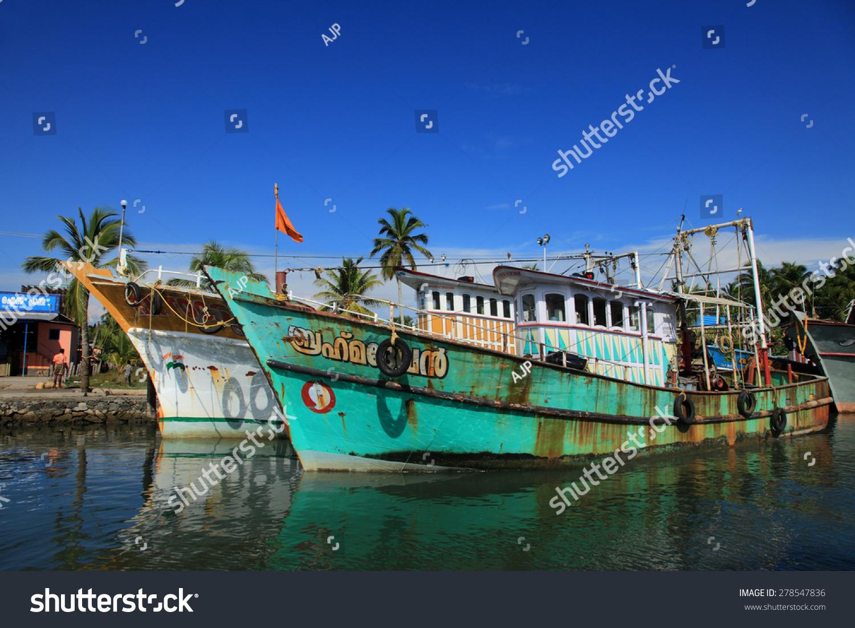 Kollam India  city images : KOLLAM, INDIA APR 17 : Fishing boats are docked in the Ashtamudi ...
