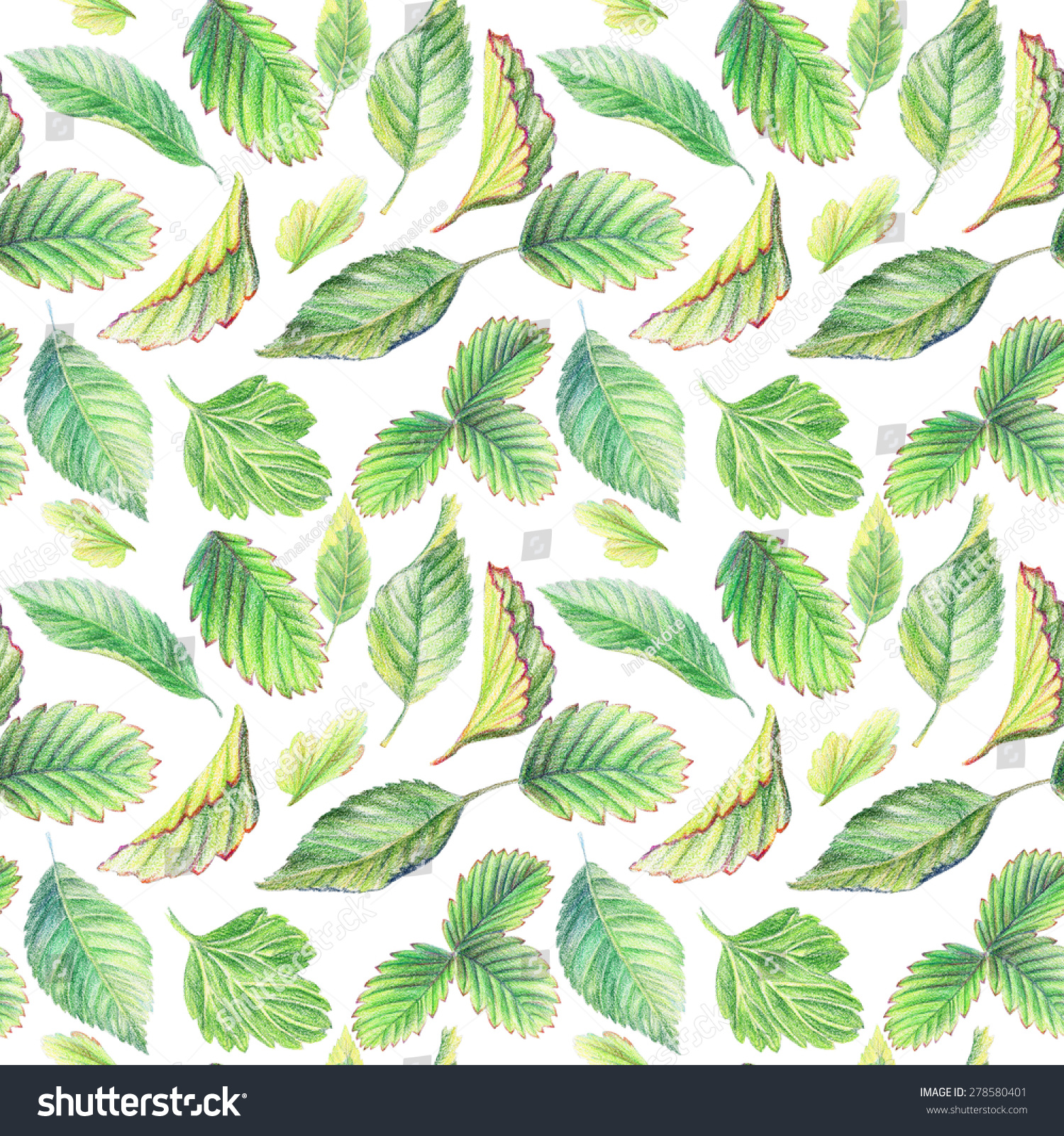Seamless Pattern Leaves Drawing Colored Pencils Stock Illustration ...