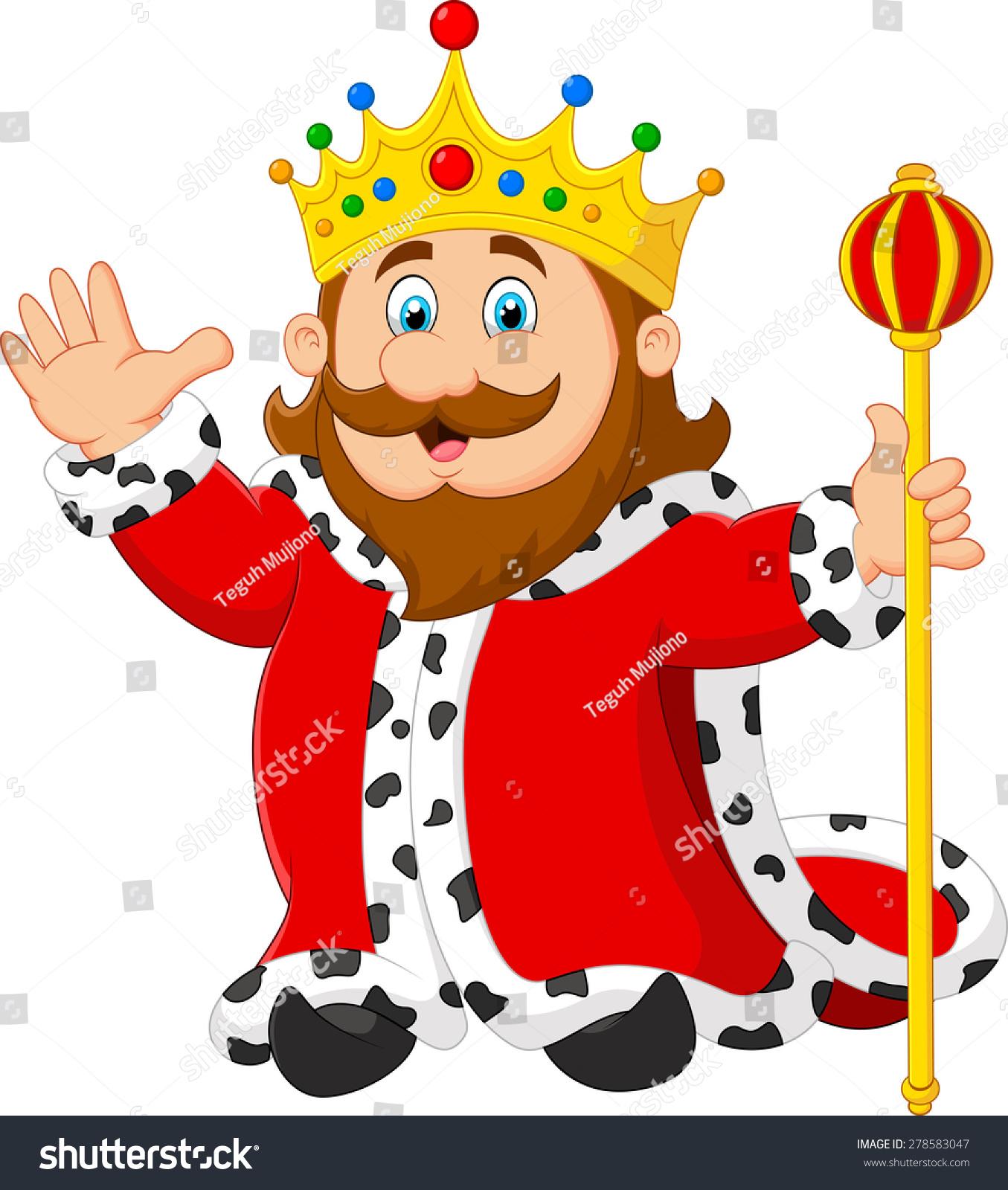 Cartoon King Holding A Golden Scepter ...